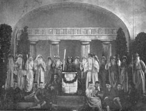 """1912, öffentliche Aufführung eines antiken Dramas durch den """"Literarischen Verein"""" im Festsaal"""